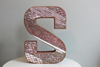 "Red 'wooden"" freestanding Letter S"