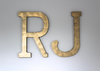 "Nursery room initials RJ in a ""metal"" gold finish"