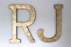 "Large ""metal"" gold initials in RJ"