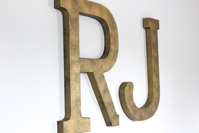 "Large Wall Letters in RJ in a ""metal"" distressed look"