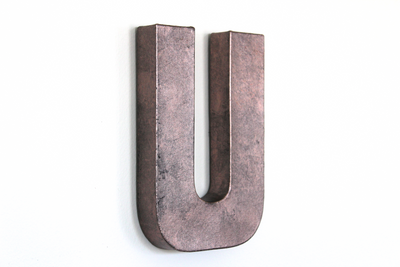 "Rose gold ""metal"" letter U"