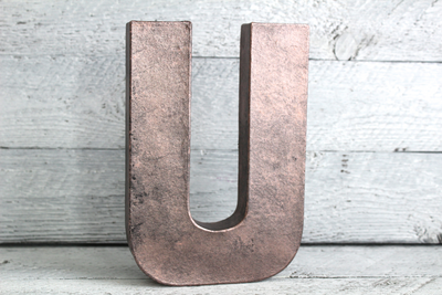 Rose Gold industrial letter U for girls room