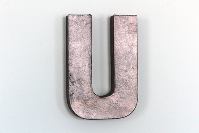 Girl nursery rose gold letter U