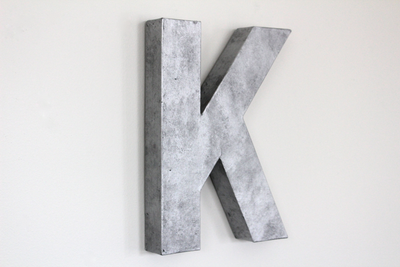 "Industrial ""metal"" wall letter K"