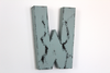 blue wooden wall letter W for room decor