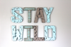 stay wild sign on wall in blue and gray