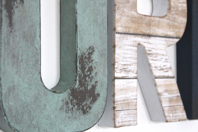 Distressed letters for beach wall decor.