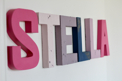 Stella name letters in purples, pinks, and navy.