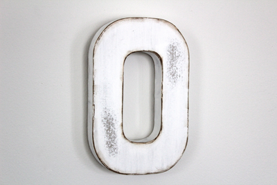 """Wooden"" letter E in a white color with rust"
