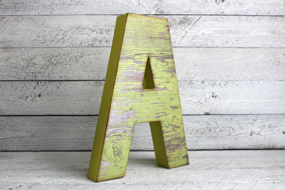 "Reclaimed ""wooden"" yellow letter A"