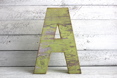 "Freestanding yellow ""wooden"" letter A"