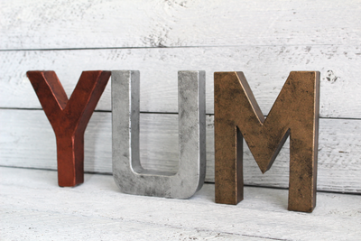 "YUM ""metal"" letters for kitchen decor"