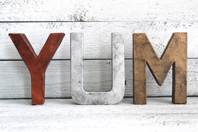 "YUM copper, silver, and bronze ""metal"" kitchen decor letters"