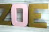"Gold and Pink ZOE name letters in ""metal"""