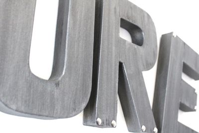 "Silver ""metal"" wall letters for kids playroom wall decor."