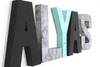Modern kids room letters spelling out Alyas in black, blue, and silver.