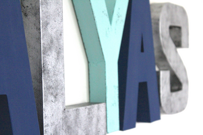 Modern nursery wall letters with a gender neutral style spelling out the name ALYAS.