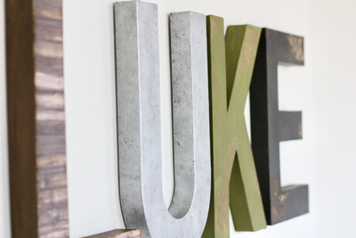 Luke woodland rustic wall letters for nursery room decor.