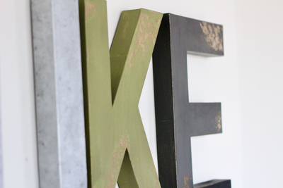 Distressed woodland nursery letters spelling out LUKE.