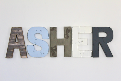 Boy room wall nursery letters spelling out boy name ASHER in brown, white, and baby blue.