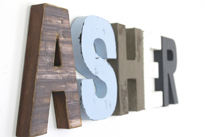 """Wooden"" boy room nursery wall letters spelling out the name ASHER."