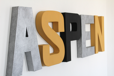 Neutral name wall letters in different modern colors, shades, and textures.