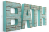 "BATH ""wooden"" wall letters in a blue teal."
