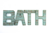 BATH letters in a blue and teal reclaimed wood look.