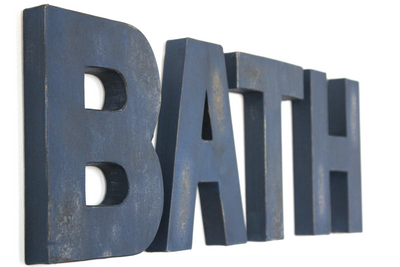 Navy Blue bath letters for bathroom wall decor in a distressed finish.