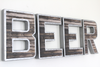 Beer wall letters for bar wall decor.