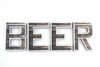 """Metal"" and ""Wood"" bar wall decor beer letters."