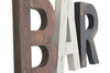 "Bar wall letters in different colors with a brown ""wooden"" arrow."