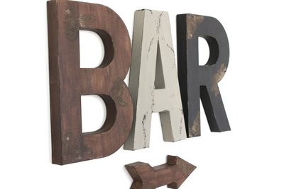 "Large farmhouse ""wooden"" wall letters spelling out the word BAR."