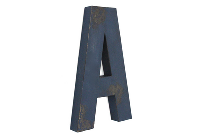 "Large blue navy ""wooden"" letter A."