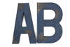 "Large navy blue ""wooden"" letters AB."
