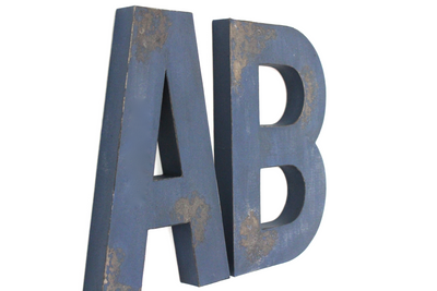 "Large Navy Rustic ""wooden"" letters AB."