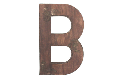 "Large rustic ""wooden"" letter B."
