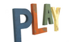 Children's playroom wall decor PLAY letters in different colors.