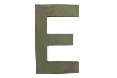 "Large green letter ""E"" for a rustic farmhouse theme."