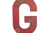 "Rustic red farmhouse ""wooden"" letter G."