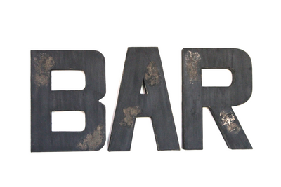 "Black ""wooden"" bar wall letters."