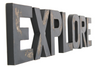 Black distressed explore sign for playroom decor.