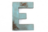 "Light blue ""wooden"" letter E"