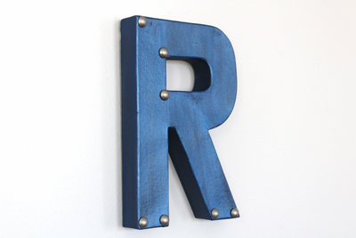 blue metal metallic letter R wall letter