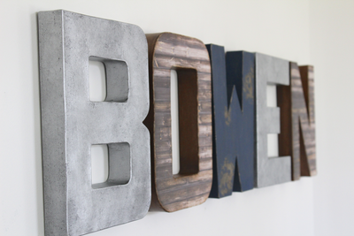 Boy room wall letters for the name BOWEN for wall decor.