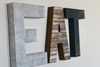 Kitchen EAT wall letters in a rustic industrial style.