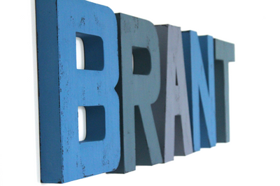 Blue wall letters for nursery wall decor spelling out the name BRANT.