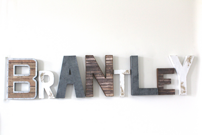 "Industrial boy room name sign in ""metal"" and ""wooden"" letters in different sizes and colors."