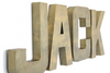 Brass letters rolling out Jack for baby nursery wall decor.