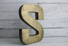 distressed metal letter S in an industrial style